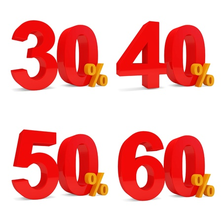 50 to 60: Set of Percent Discount  30 , 40 , 50 , 60   isolated on white background Stock Photo