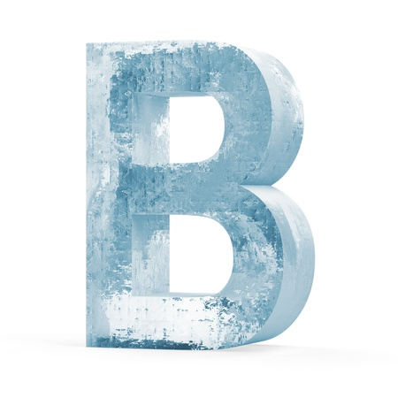 Icy Letters isolated on white background  Letter B  photo