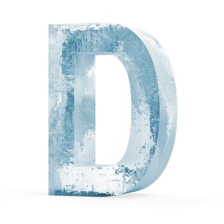 carta de agua liquida: Cartas heladas aisladas sobre fondo blanco Letra D