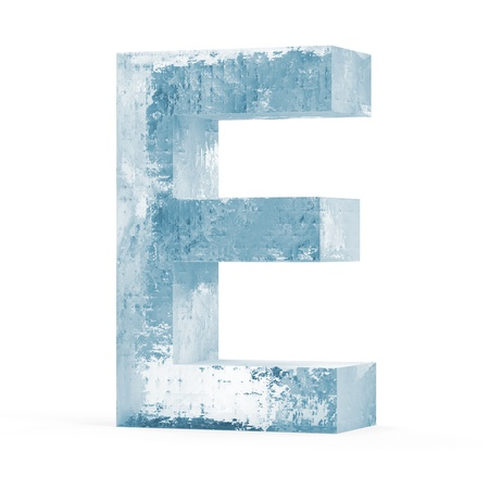 Icy Letters isolated on white background  Letter E