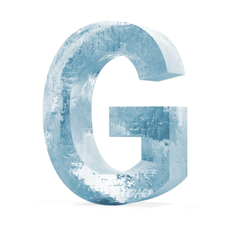 Icy Letters isolated on white background  Letter G  photo