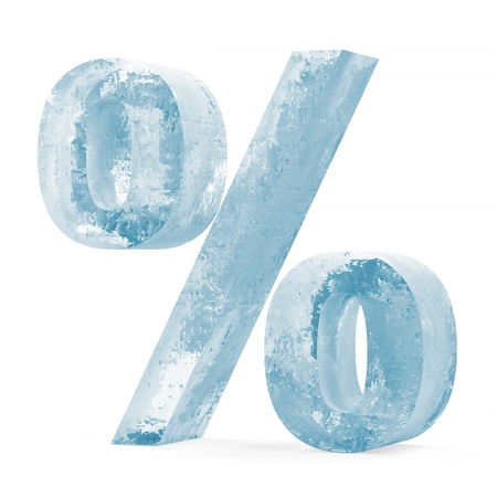 ice surface: Icy Percent Sign over white background