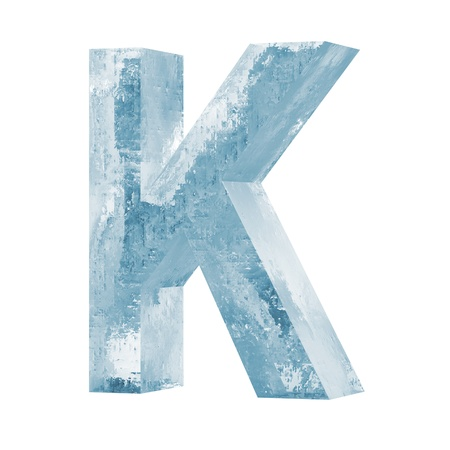 Icy Letters isolated on white background Letter K