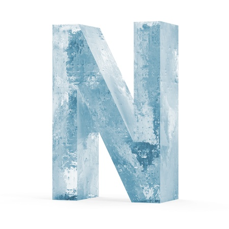 refrigerate: Icy Letters isolated on white background  Letter N