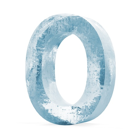 Icy Letters isolated on white background  Letter O  photo