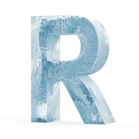 Icy Letters isolated on white background  Letter R  Stock Photo