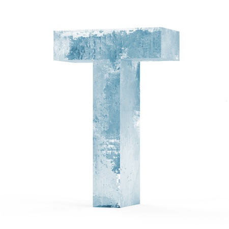refrigerate: Icy Letters isolated on white background  Letter T
