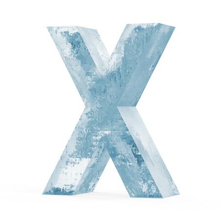 Ijzige letters op een witte achtergrond Letter X
