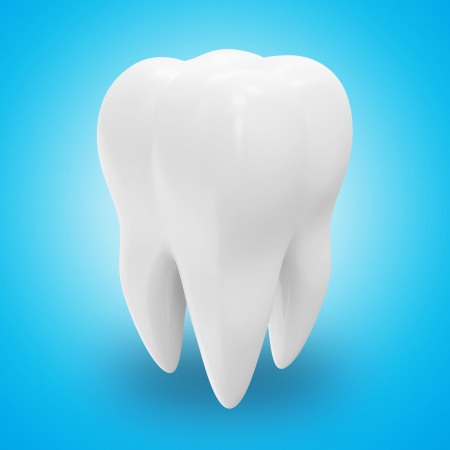 dientes caricatura: Salud dental sobre fondo azul