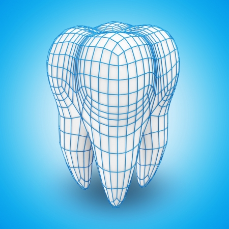 Human Tooth with Grid on blue background  Protection Concept  photo