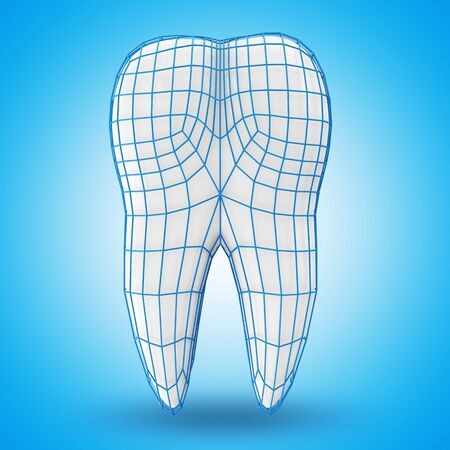 carious: Human Tooth with Grid on blue background  Protection Concept