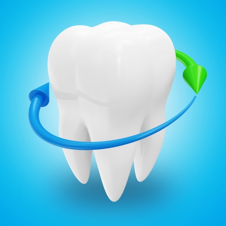 Tooth with Arrows on blue background  Protection Concept Stock Photo - 20689547