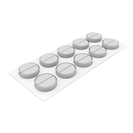 Pack of Medical Pills isolated on white background photo
