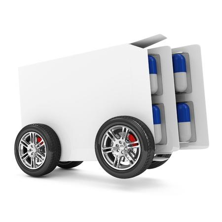 recetas medicas: Paquete de p�ldoras m�dicas sobre ruedas aislados sobre fondo blanco