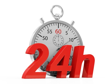 overnight delivery: Stopwatch and 24h symbol isolate on white background