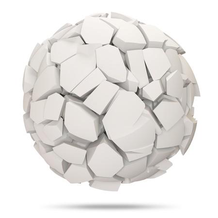3d ball: Broken Concrete Sphere on white background