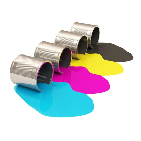 Spilled Paint Cans isolated on white background CMYK Concept Stock Photo