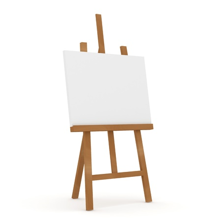 blank canvas: Wooden Easel on white background Stock Photo