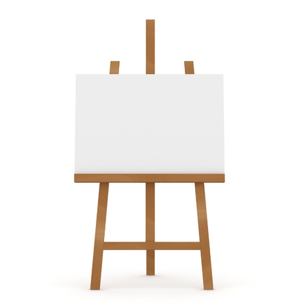 Wooden Easel on white background photo