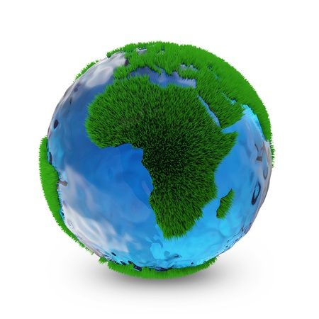 Miniature Green Earth Planet isolated on white background  Ecology Concept photo