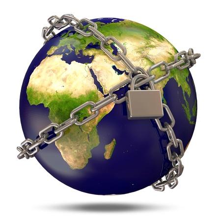 La planète Terre dans des chaînes d'argent fermé pour verrouiller sur fond blanc Banque d'images - 22914204