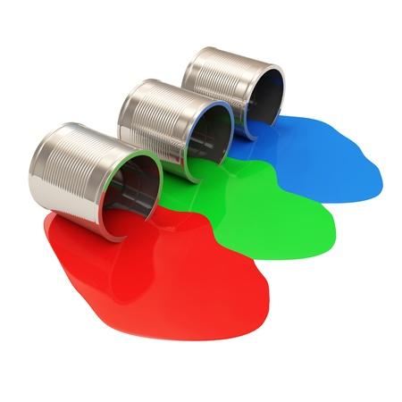 pintura derramada: Derramados latas de tinta aislados en fondo blanco RGB Concept Foto de archivo