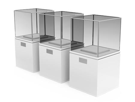 retail display: Empty Presentation Showcase isolated on white background Stock Photo