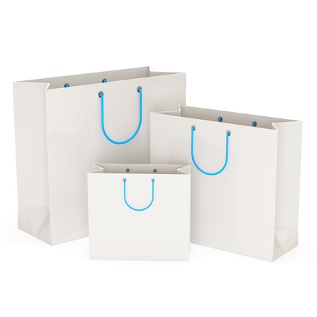 white paper bag: White Shopping Bags isolated on white background Stock Photo