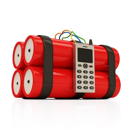 Dynamite Bomb with Mobile Phone on white background photo