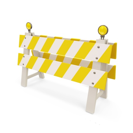 traffic barricade: Road Barrier on white background