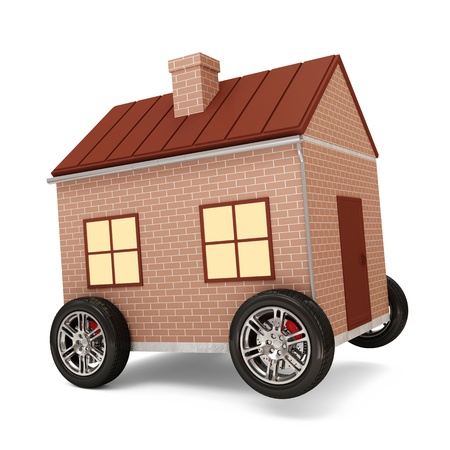 House on Wheels isolated on white background photo