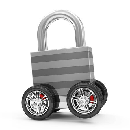 Metal Padlock on Wheels isolated on white background photo