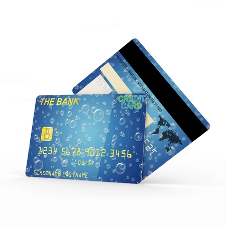 international bank account number: Credit Card Front and Back Side isolated on white background