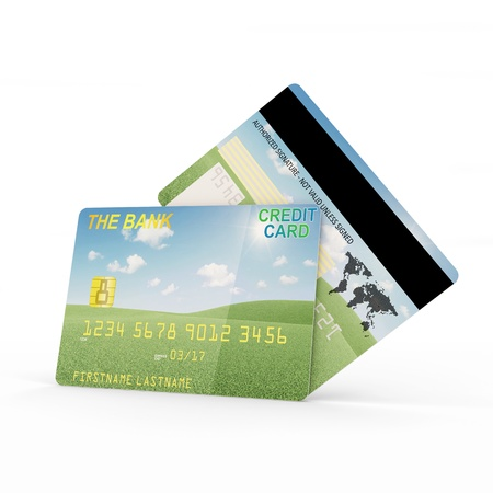 Credit Card Front and Back Side isolated on white background photo