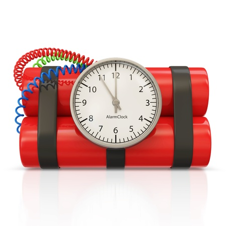 Dynamite Bomb with Clock Timer on white background photo