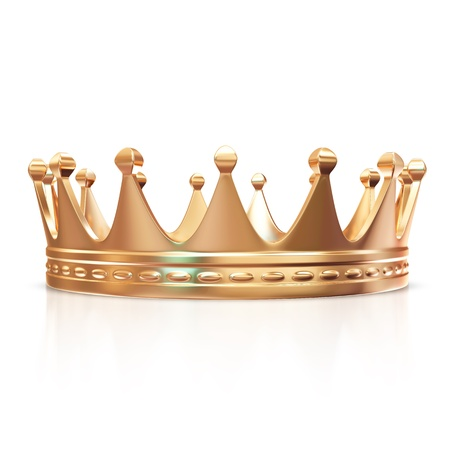 corona rey: Golden Crown aislado en fondo blanco