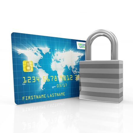 financial protection: Credit Card Security and Protection Concept  Credit Card with metal Padlock isolated on white background