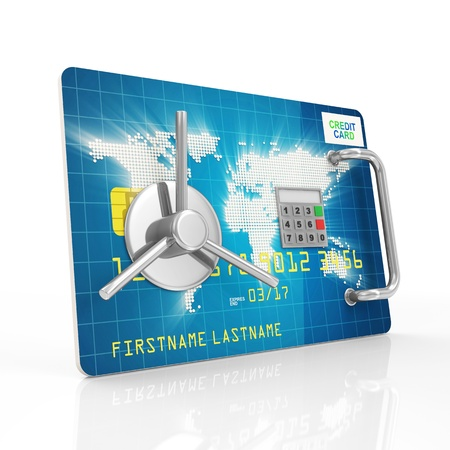 service card: Credit Card Security and Protection Concept  Credit Card with Safe Door isolated on white background