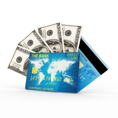 Finance Concept  Credit Card with Heap of Dollar Bills isolated on white background photo