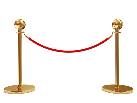 red barrier velvet: Golden Velvet Rope isolated on white background
