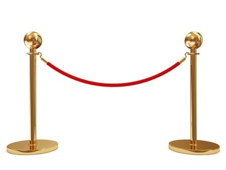 acomodador: Velvet Rope oro aislado en el fondo blanco