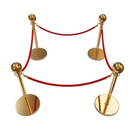 velvet rope: Golden Velvet Rope isolated on white background