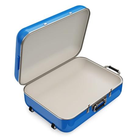 maleta: Maleta abierta sobre fondo blanco Foto de archivo