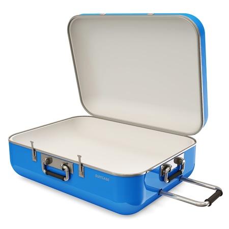 carryall: Opened Suitcase isolated on white background Stock Photo