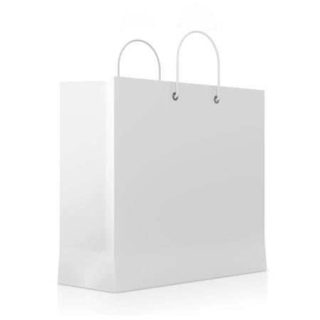 Blank White Shopping Bag isolated on white background photo