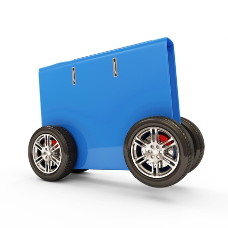 Folder for Documents on Wheels isolated on white background photo