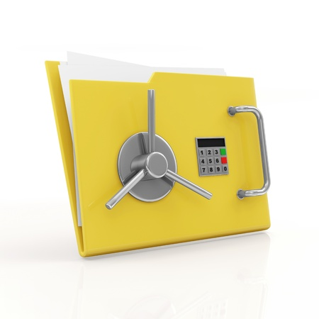Folder Security Concept  Yellow Folder with Safe Door isolated on white background Stock Photo - 22914624