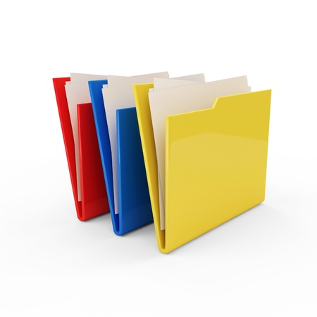 Colorful Folders isolated on white background photo