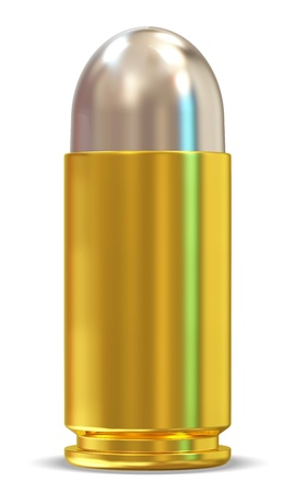 3D Bullet on white background photo