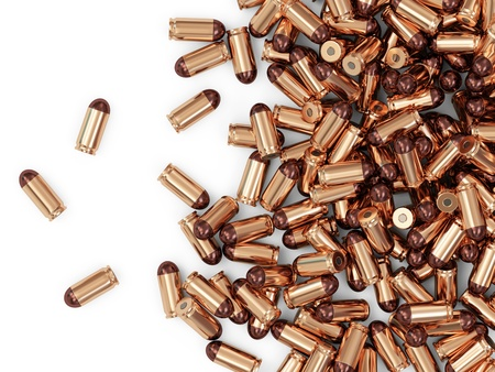 9mm: Heap of Gun Bullets isolated on white background with place for Your text